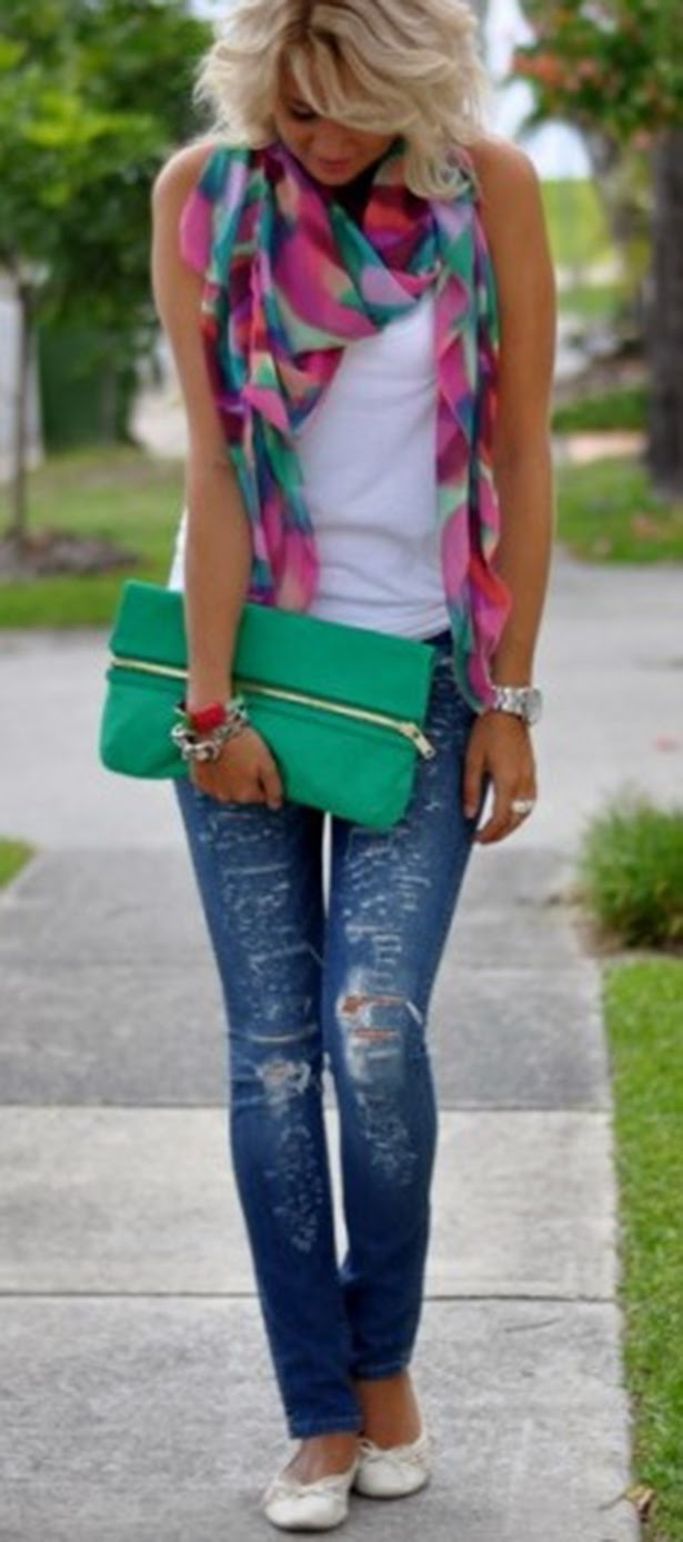 Colorful Beautiful Scarf with Torn Jeans,T-Shirt, Green Clutch Bag and Babets