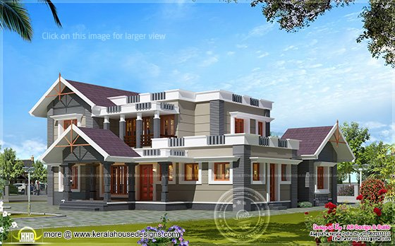 4 bhk house exterior design in 2600 kerala home for Indian home exterior design photos middle class