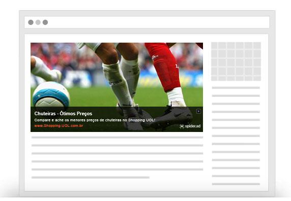 Nesta imagem, você pode conferir um anúncio do Spider.AD! Monetização de Sites e Blogs.