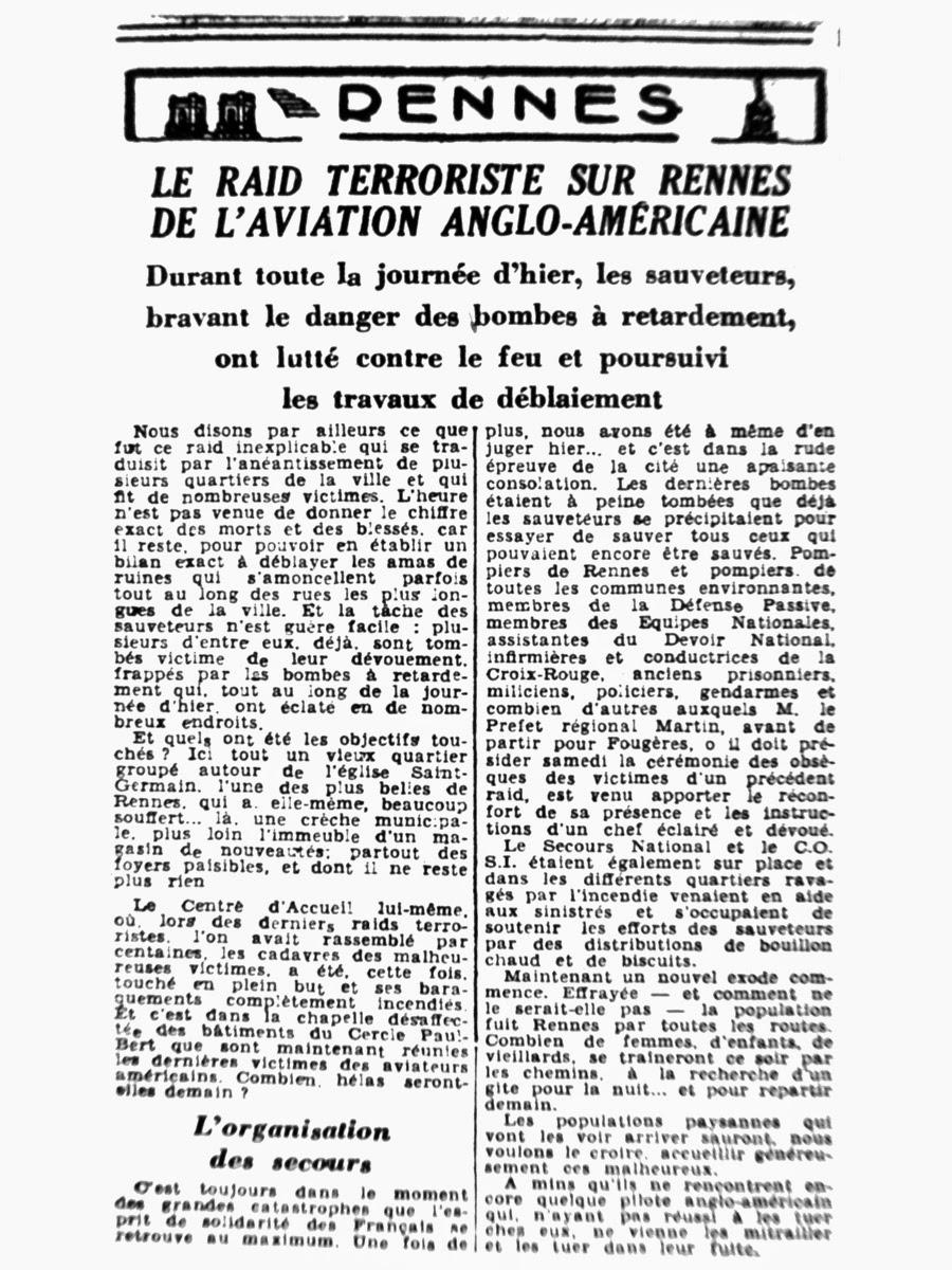 Article extrait de l'Ouest-Éclair du 10 juin 1944 - Edition locale - Les bombardement anglo-américains sur Rennes