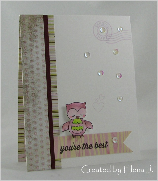 owl card by Elena J. using Sweetheart Tails Stamp Set  | Newton's Nook Designs