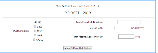 POLYCET 2013 Hall Ticket Download