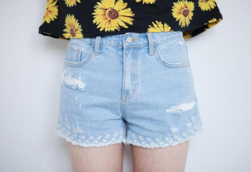 Embroidered Detail Denim Shorts