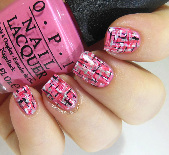 pink tweed nail art