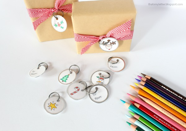 coloring diy gift tags with colored pencils
