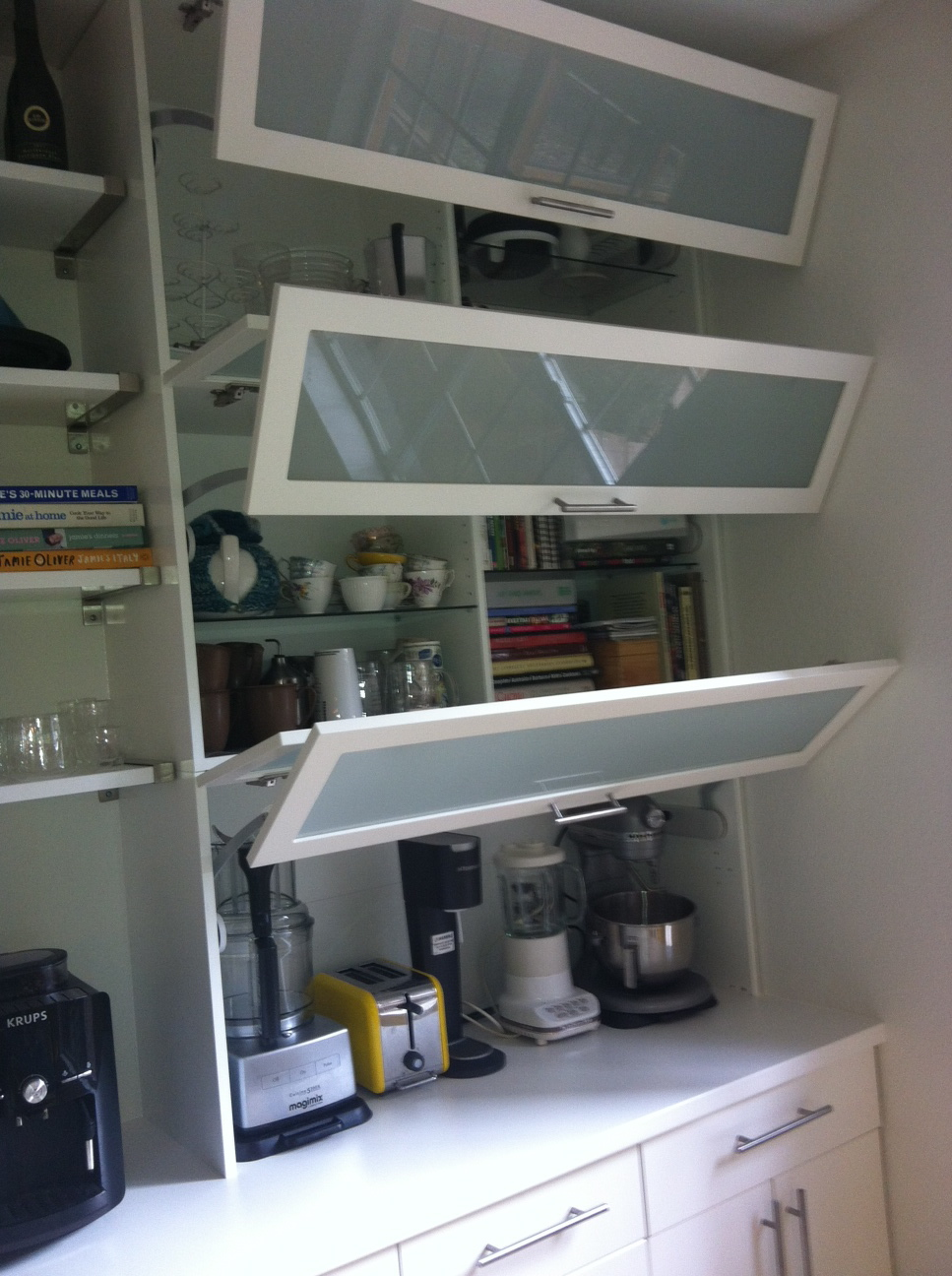 Kitchen appliance garage get home decorating for Kitchen cabinet shelves