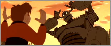 Hogarth teaching the giant in The Iron Giant