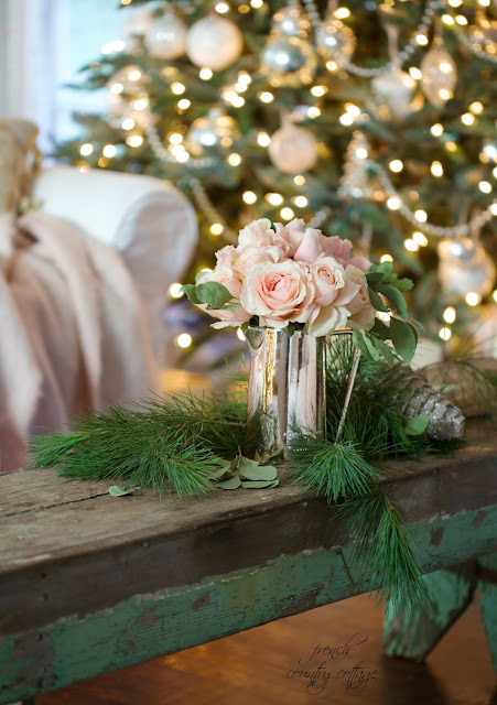 French Country Cottage Christmas Home Holiday Decorating flowers