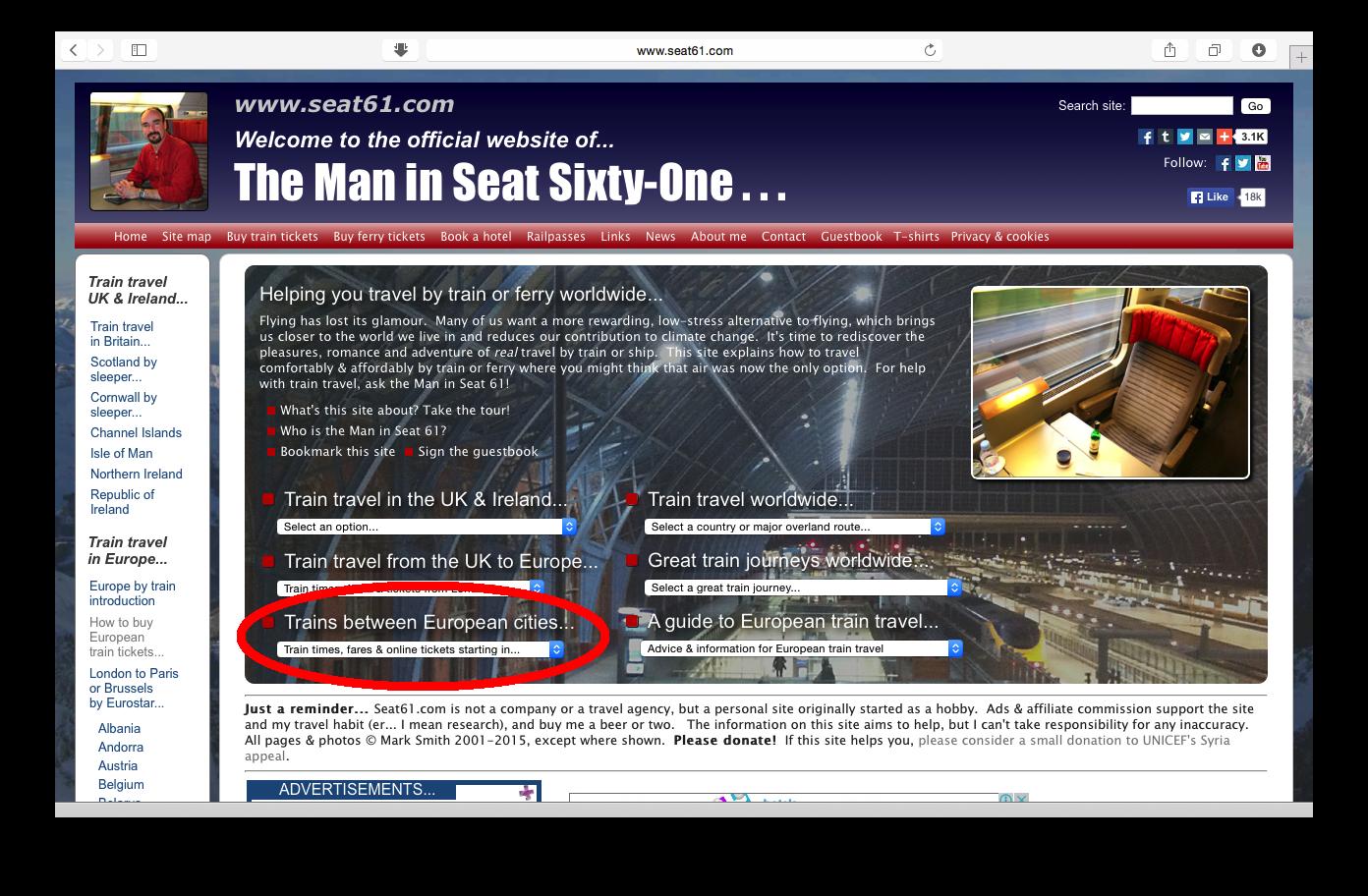 Tampilan web seat61.com