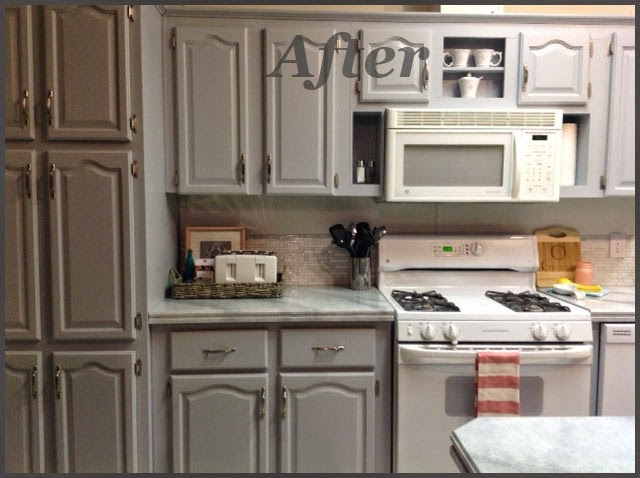 Navy Blue Kitchen With Brown Countertops