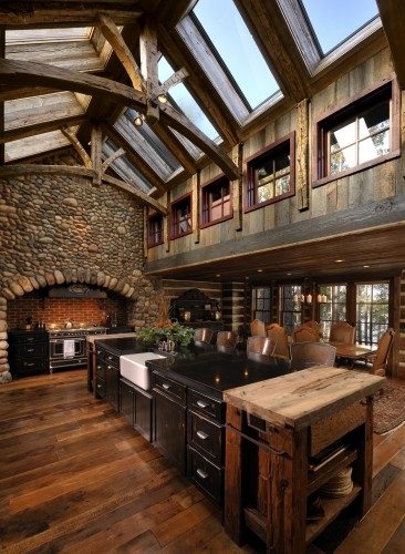 Sunday style a lake house celebrate decorate for Rustic lake house kitchens