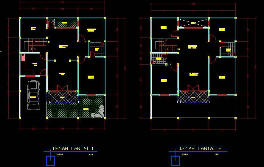 Desain Rumah Minimalis 2 Lantai Autocad
