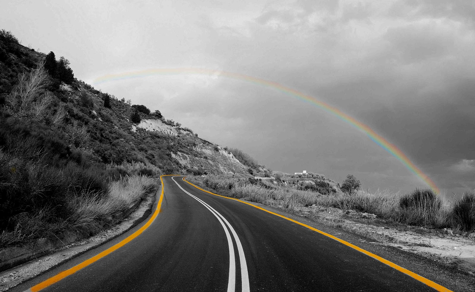 Rainbow and Road Black and white photography with color
