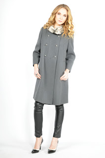Vintage 1960's grey princess coat with chinchilla fur trim.