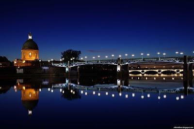 Toulouse The Garonne River Great Night View France Hd Desktop Wallpaper