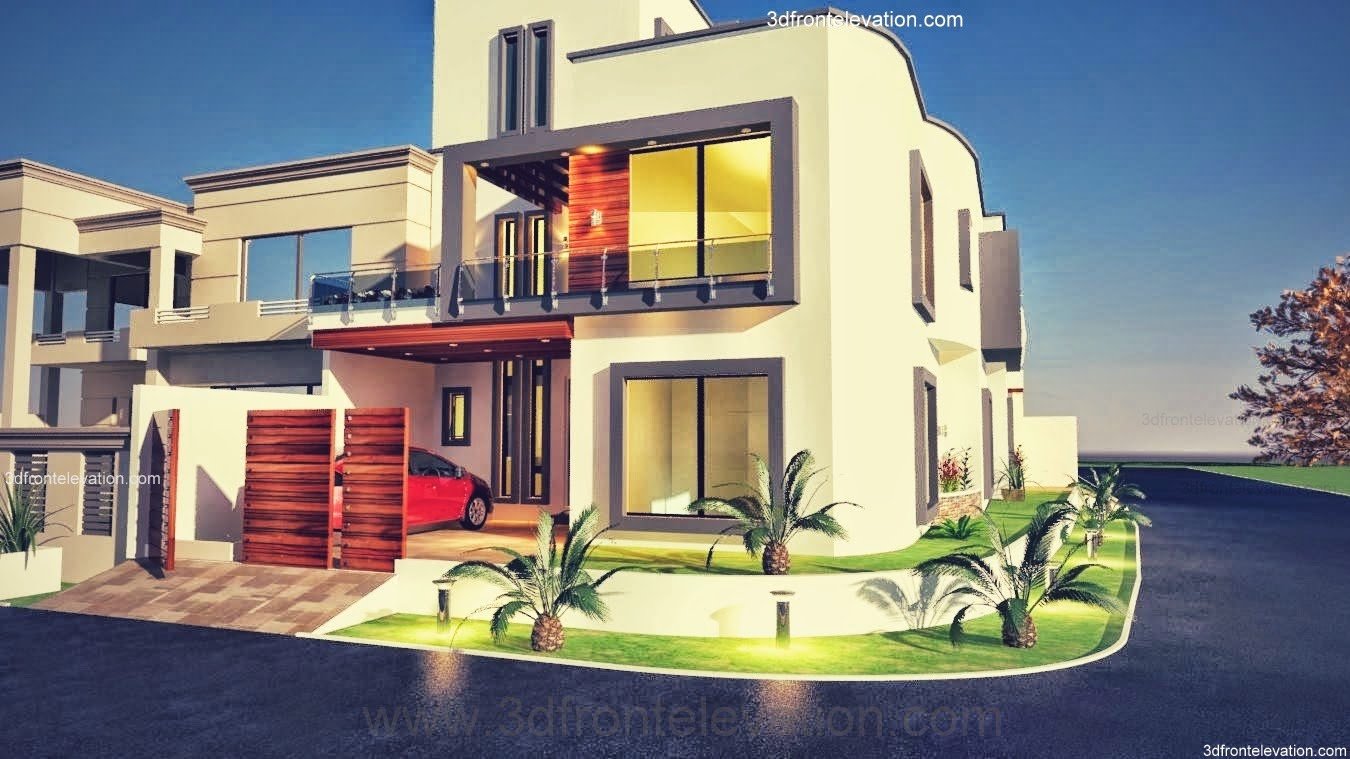 3d front 10 marla plot modern for House in design