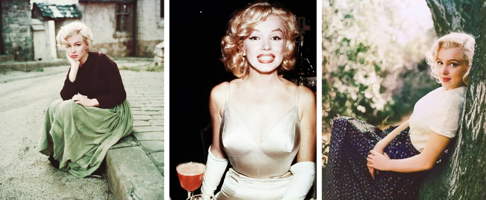 Pictures of Marilyn Monroe modelling, and smiling