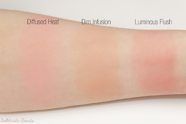 Hourglass Luminous Flush, Dim Infusion and Diffused Heat Ambient Lighting Blushes swatches spring 2014 in studio lighting