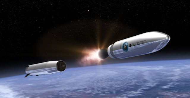 A rendering of the LauncherOne in space. Credit: Virgin Galactic