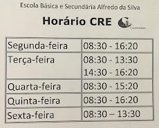 Horário da BE/ CRE Alfredo da Silva