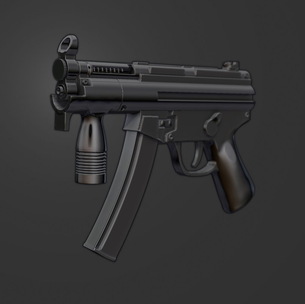 Zbrushworkshops sculpting an mp5 k in zbrush 4 for Mirror zbrush