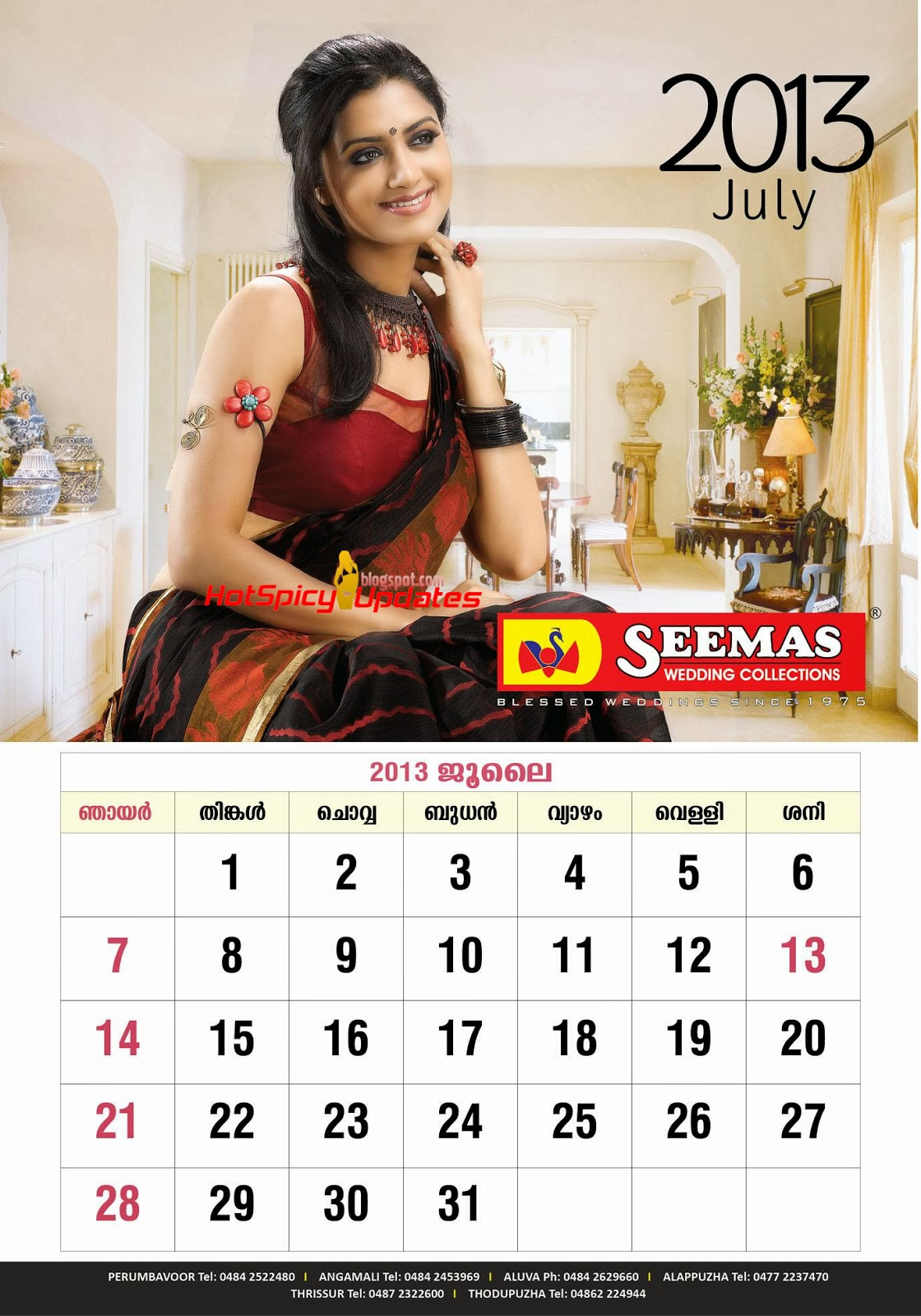 Mamtha Mohandas Hot Cute Seemas Wedding Collections Calender Stills