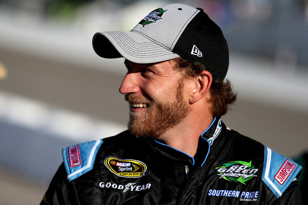 Jeffrey Earnhardt, driver of the #32 BeerFrost.com/CorvetteParts.net Ford, stands on the grid during qualifying for the NASCAR Sprint Cup Series Federated Auto Parts 400 at Richmond International Raceway on September 11, 2015 in Richmond, Virginia. (Sept. 10, 2015 - Source: Matt Hazlett/Getty Images North America)