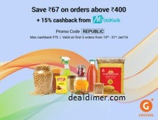 Rs. 67 off on order above Rs. 400 + 15% Cashback - Grofers