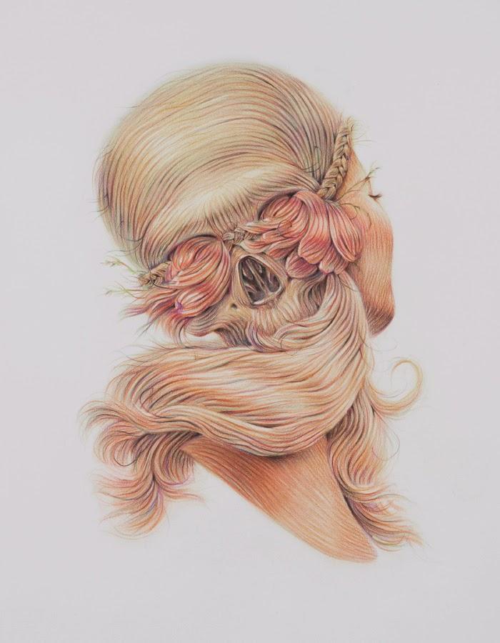 skull hair optical illusion
