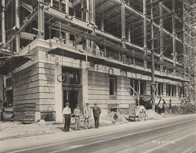 An old photo of building when was under construction