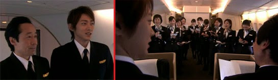 The captain and Tsutsumi giving the briefing to the cabin attendants in the plane.