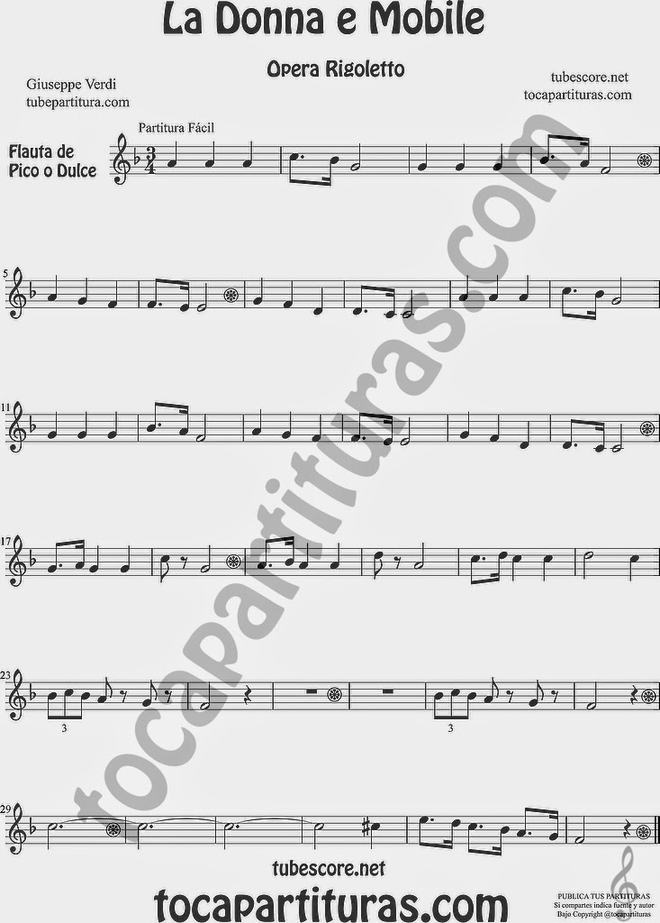 La Donna e Mobile Partitura fácil de Flauta dulce y flauta de pico Easy sheet Music for Recorder Rigoletto