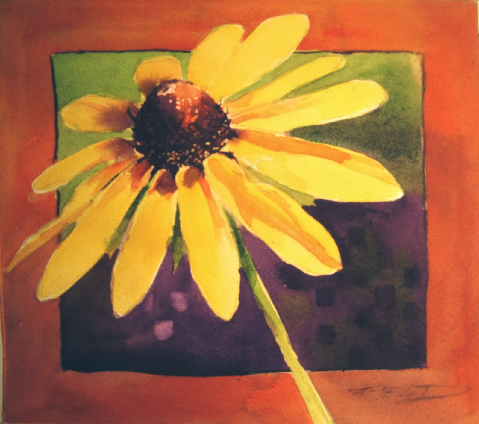 This Is A Sketchbook Painting Of Black Eyed Susan Using Limited Pallete Secondary Colors Orange Green And Purple