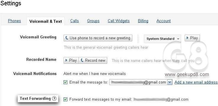 Enabling SMS to Email option in Google Voice