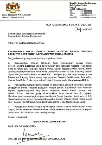 29 Apa Rasionalnya Tukar Kereta Rasmi Kerajaan Malaysia Kepada Honda