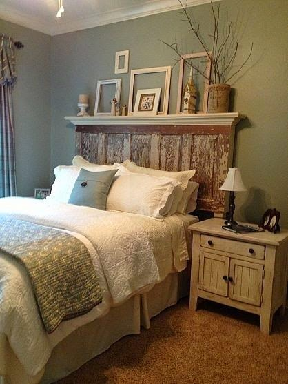 http://myhomelookbook.com/2013/01/10/shelf-on-top-of-the-old-door-headboard-beautiful/