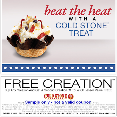 picture about Cold Stone Printable Coupon titled Chilly Stone Creamery Coupon: Invest in 1 Consider Just one Cost-free Manufacturing