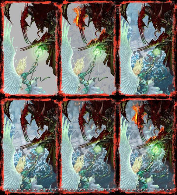 Proceso de trabajo de la ilustración de portada de ÉPICA: Edades Oscuras, juego de cartas y rol de fantasía medieval.