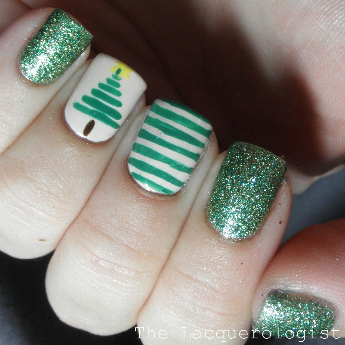 These Striped Christmas Tree Nails Feature Some Pretty Green Shades The Glitter Are China Glaze This Is Mendous With Out Door Top Coat