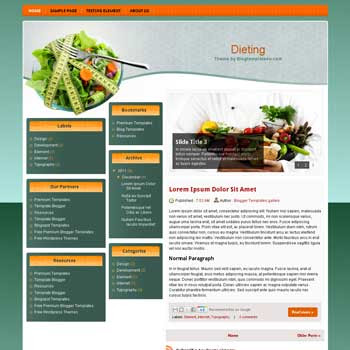 Dieting Blogger Template. free diet blogger template
