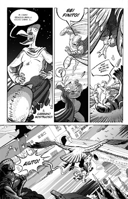 Tavola di Pigeon-Man! Cyrano Comics di Luca Falesiedi