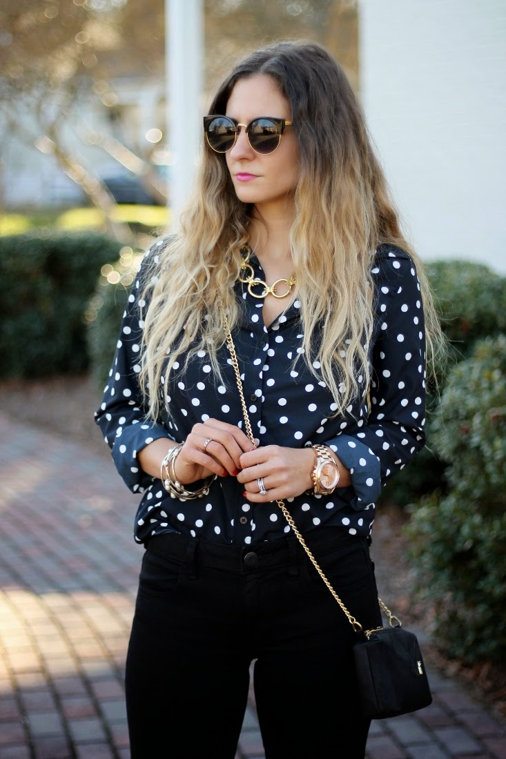 Ombre Hair Color - Polka Dot Blouse