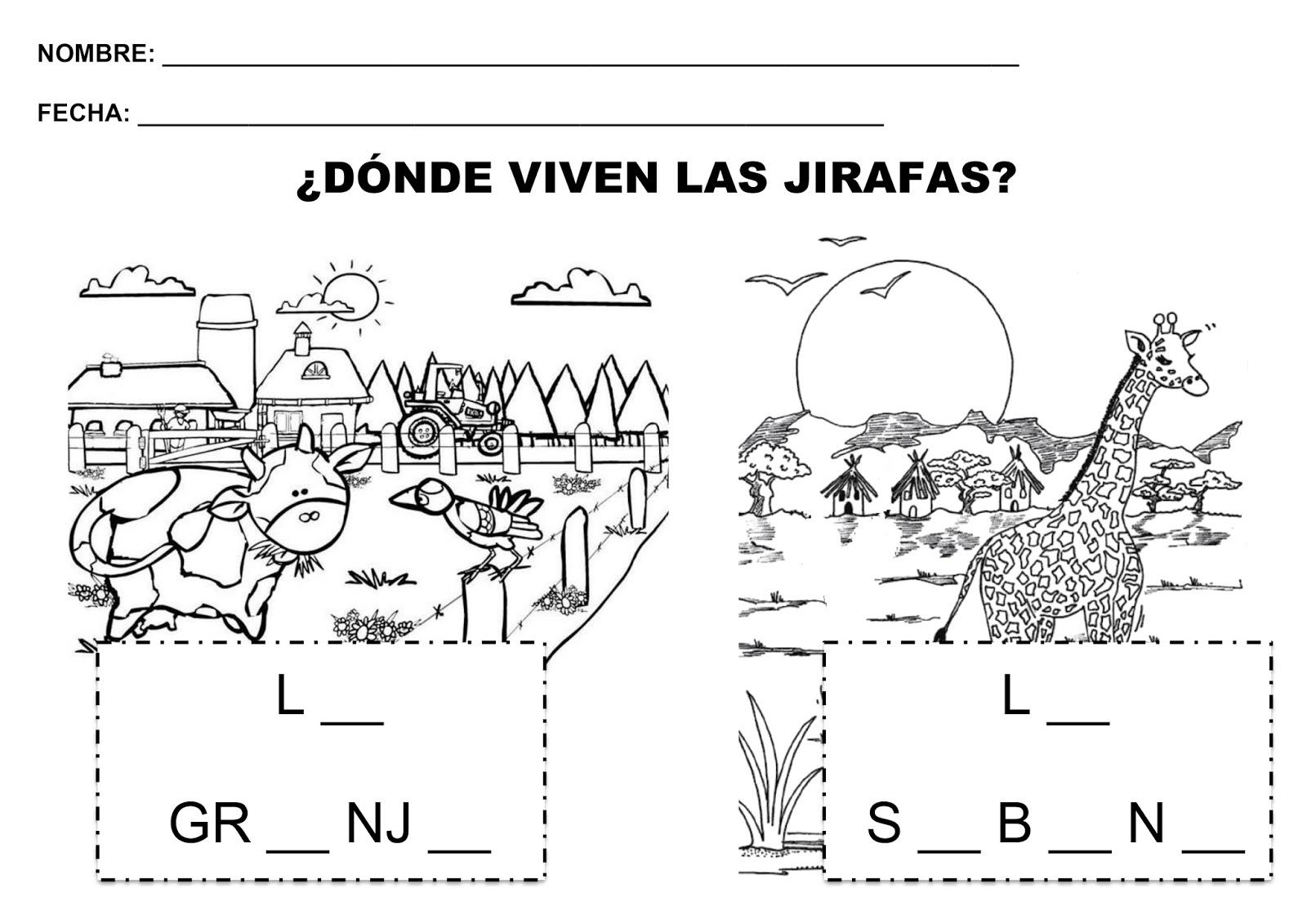 Trabajando con personitas: ¿Dónde viven LAS JIRAFAS?