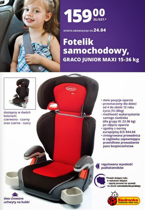 Fotelik samochodowy GRACO JUNIOR MAXI 15-36 kg z Biedronki ulotka