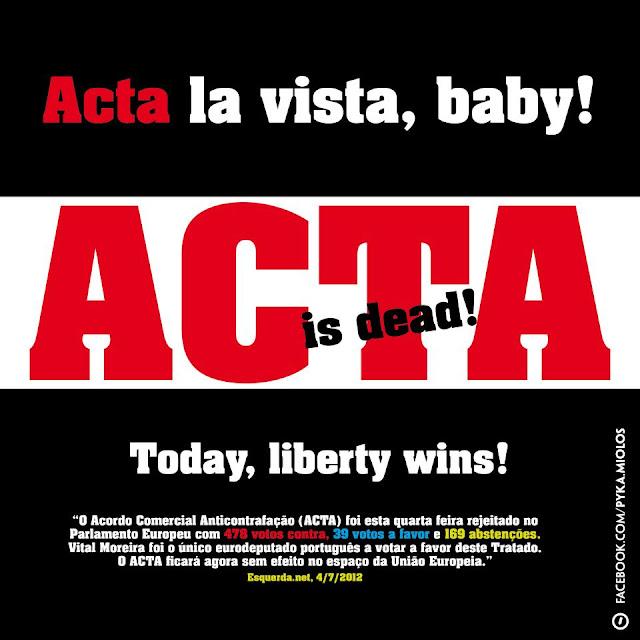 Europa rejeita entrada na Acta, que busca controle da web.