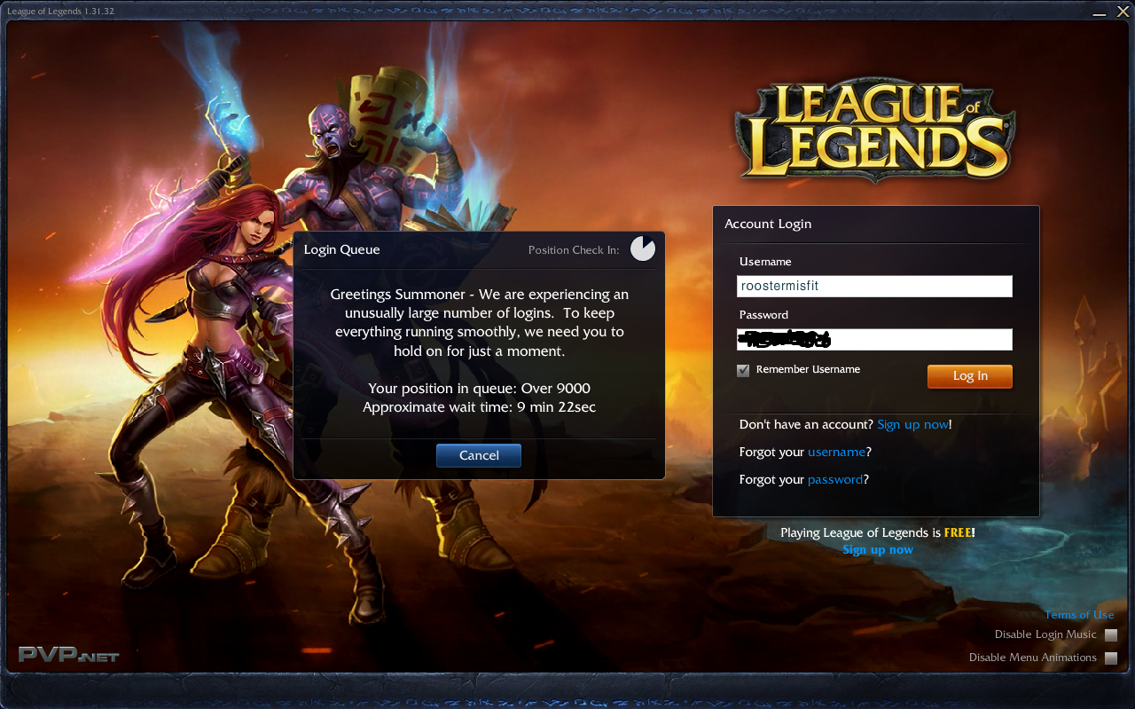 league of legends log in