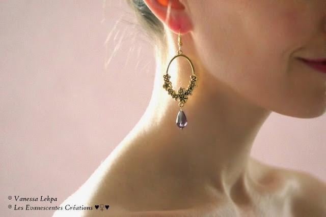 Vanessa Lekpa : boucles d'oreille style romantique vintage pin-up avec estampe ancienne vintage avec fleurs sculptées  beau bijoux pas cher