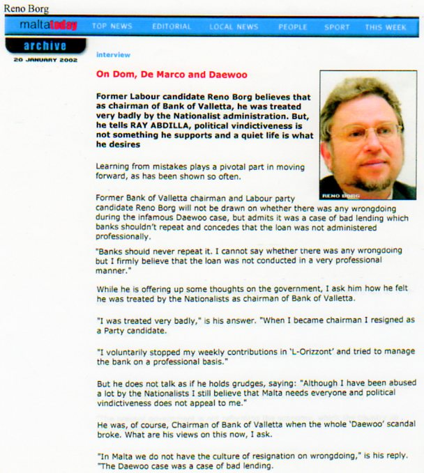 Dr Reno Borg On The Daewoo Scandal