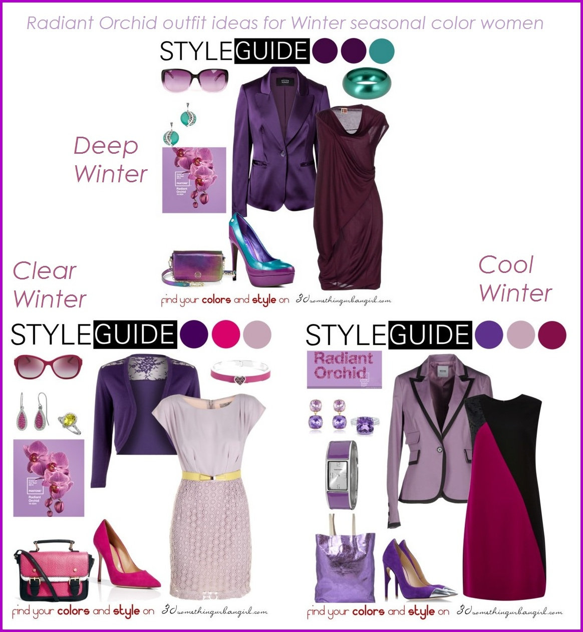 Radiant Orchid outfit ideas for Winter seasonal color women