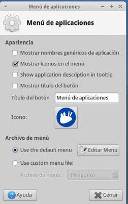 Aplicaciones del panel de Xubuntu